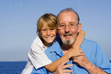 happy loving grandfather and grandson poster