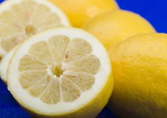 Lemons on the blue background