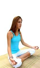 Yoga girl - isolated. young girl in meditation