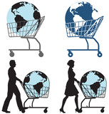 Earth Globe in Shopping Cart pushed by man, woman in silhouette poster