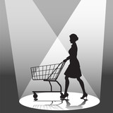 A woman shopper pushes a shopping cart in a spotlight. poster