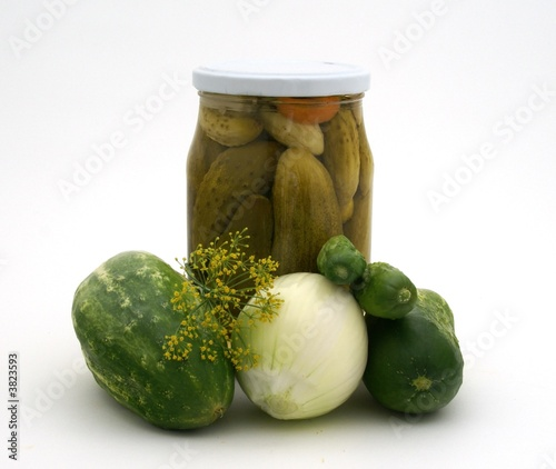 Pickles with ingredients