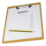 Empty survey form on a clipboard isolated on white background..