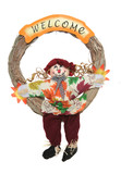 A colorful Thanksgiving wreath isolated over white poster