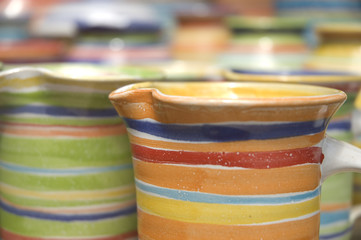 Set of colored handmade ceramics cups