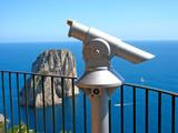 Telescope and spectacular panorama (Capri island) poster