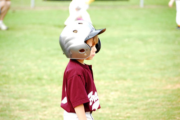 Boy with Bat Helmet