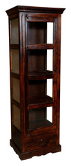 Brown tall cupboard with glass door