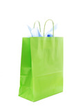 An isolated shot of a green shopping bag