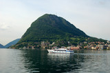 A ferry boat on Lake Lugano in Switzerland. poster