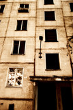 Old deserted house. Sepia color and high contrast. poster