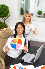 businesswomen at a happy presentation