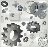 circles, gears and rectangles poster