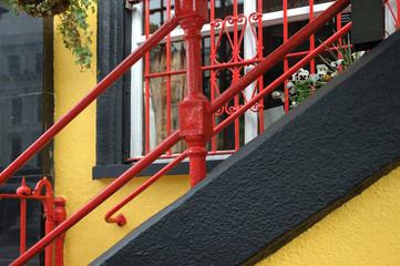 Handrail and window - red and yellow