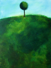 This is an abstract painting of a tree on a hill.