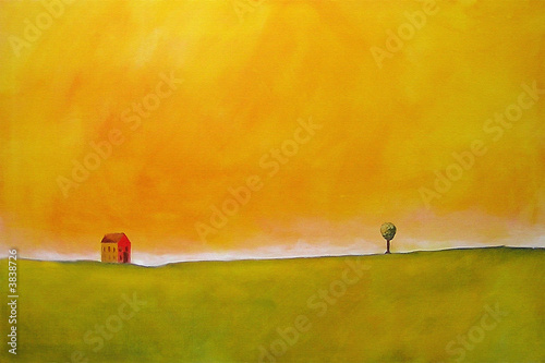Obraz na Plexi this is an abstract painting of a farm scene