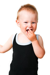 happy baby with sugar isolated on the white background