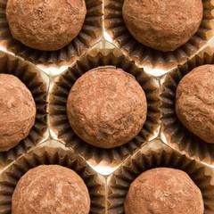 Chocolate top view. Chocolate truffles.