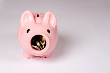 Piggy bank with open mouth and coins inside. Easy to cut.