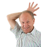 Aged man fooling about. White background poster