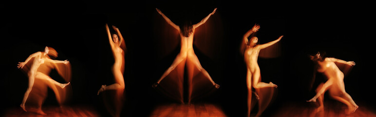 Series of five shots of a nude woman moving with movement blur
