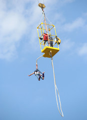 Bungee jump from a crane