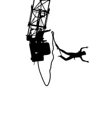 Silhouette of a bungee jumper