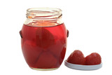 Red Strawberry Preserve; Focus on two berries next to jar poster