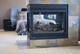 Fireplace in modern master bedroom poster