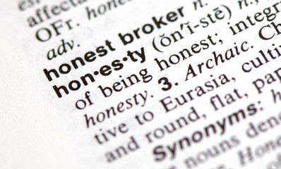 "A macro shot of the word ""honesty"" from the dictionary"