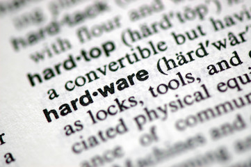 "A macro shot of the word ""Hardware"" from the dictionary"