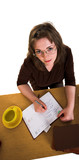 Young freckled woman with yellow cup and eyeglasses poster