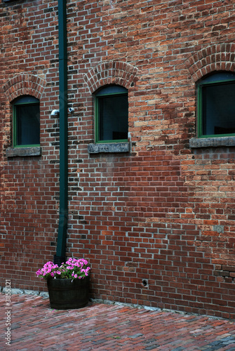 poster of Rustic bricks wall and a flower basket