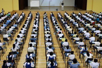children in the examination halls
