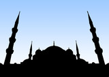 Sultanahmet Mosque silhouette of Istanbul. poster