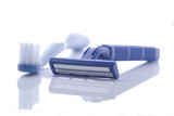 Blue plastic razor and toothbrush  poster