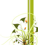 Flower background with blots, vector illustration poster