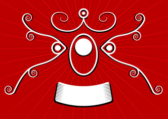 stylized red spirals banner over a gradient