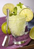 fresh lime granita with mint close up