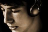 teen listening favorite song poster