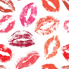 Seamless pattern, print of lips, vector