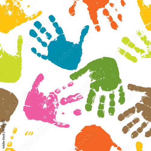 Seamless pattern, prints of hands of the child, vector