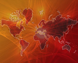 Data transfer over a map of the world red orange poster
