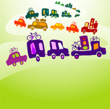 cars caravan, chain of cars on a road poster