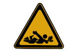 Crushing danger sign - caution at work poster