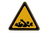 Crushing danger sign - caution at work poster