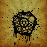 ink splats on grunge background poster