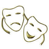 Theatrical masks of drama and comedy poster