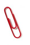 Macro of red paperclip, casting shadow on white background. poster