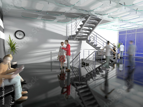 the modern  office hall interior with stairs 3d